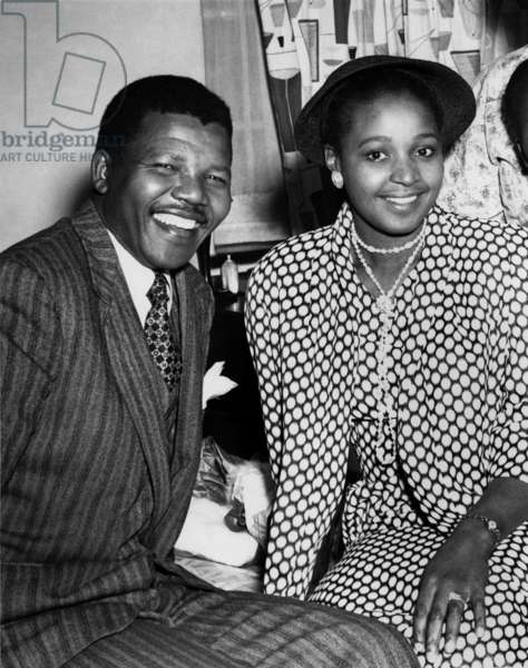 Nelson and Winnie Mandela on their wedding day in 1958 (b/w photo)
