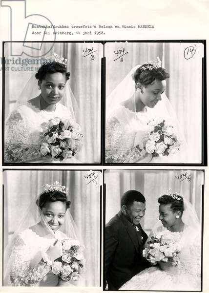 South Africa, Anti-Apartheid Movement. Contact prints of the wedding photos of Winnie (3x) and Nelson Mandela (1x). South Africa, June 14, 1958