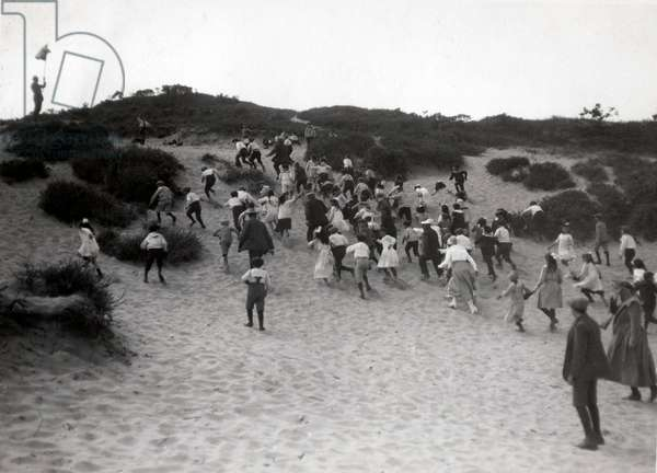 Children's holiday, Amsterdam children on a summer camp storming a dune, Bloemendaal, Netherlands, 1919