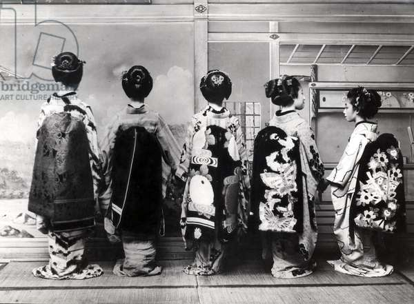 Group of geishas in traditional clothing, Japan, 1931