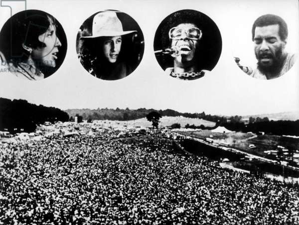 Joan Baez, Arlo Guthrie, Sly Stone and Richie Havens, Woodstock, USA, 1969 (b/w photo)