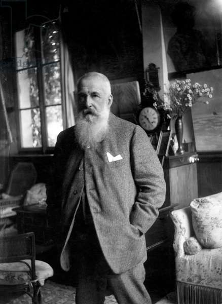 Claude Monet in his studio at Giverny (b/w photo)