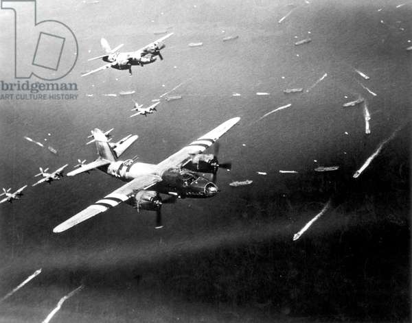 D-Day, B-26 Marauder fighters provide cover for the landing on French coast, June 6, 1944 (b/w photo)