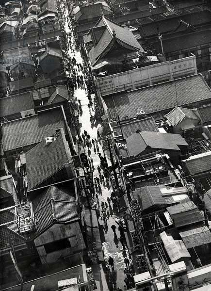 Aerial photo of the typical houses in Asaksa, the relaxing area of Tokyo, Japan, 1936