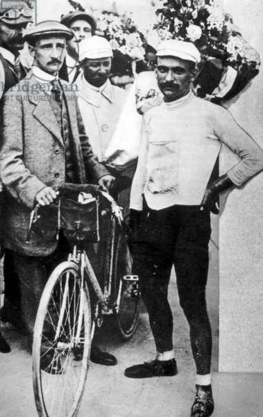 Cycling, Tour de France 1903, History. The Frenchman Maurice Garin winner of the first Tour de France. Length 2428 kilometers, 6 stages (he won three), in 49 hours and 33 minutes he was in Paris (b/w photo)
