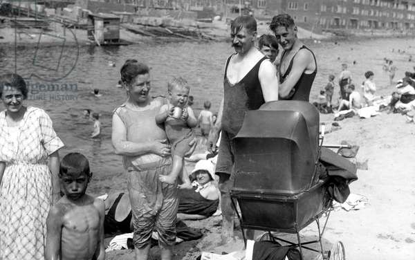 A beach in the city, summer in Amsterdam, The Netherlands, 1923.