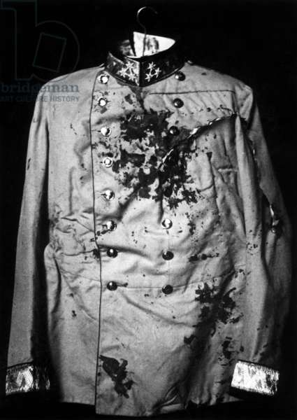 Tunic of the murdered Archduke Franz Ferdinand, 1914 (b/w photo)