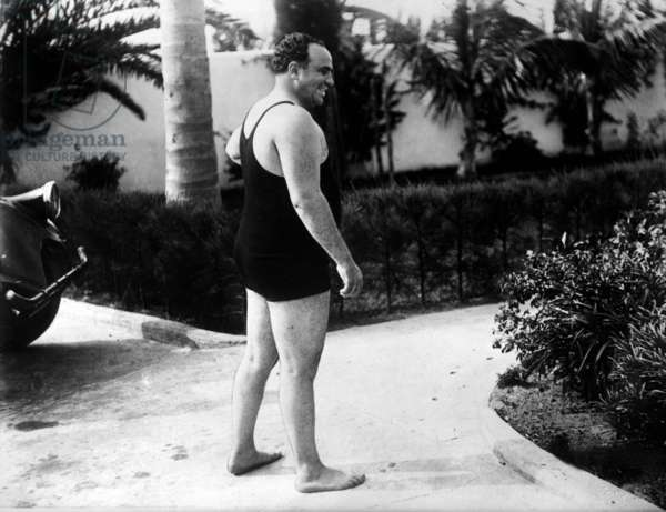 Al Capone, American gangster, mafioso in Chicago, wearing a swimsuit, c. 1930
