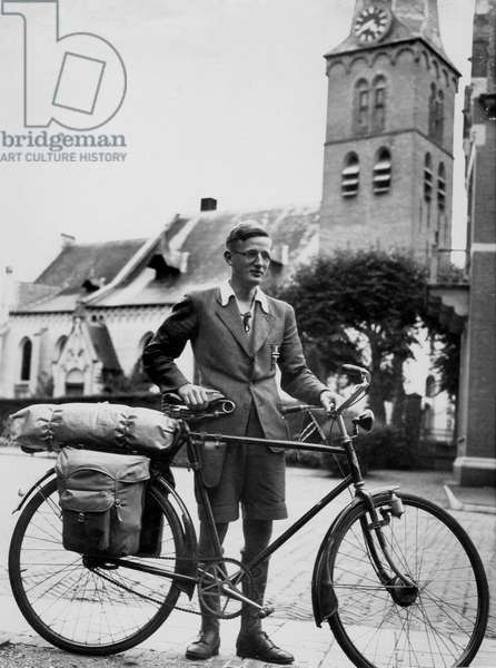 A young man is having a holiday by bike, The Netherlands 1930-40