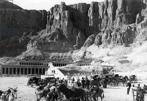 The cliffs/rocks in the back protect the famous Valley of Kings. Deir-el-Bahri, Egypt, 1927