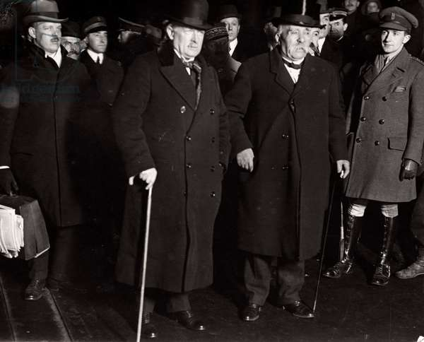Prime Minister George Clemenceau of France and the British Prime Minister David Lloyd George in Paris after the ratification of the Peace Treaty of Versailles, France, 1920 (b/w photo)