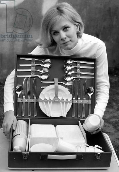 Picnic hamper with content, service, cutlery and thermos flask, for slae at Sport house Haarlem, The Netherlands, 1967