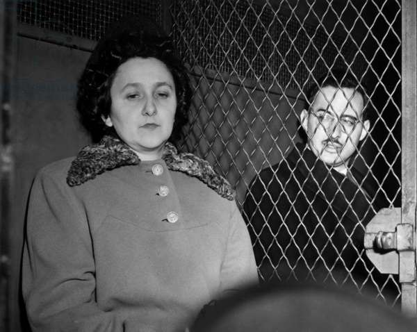 Julius Rosenberg and his wife Ethel, in a police car returning from the court, where they were convicted of espionage and conspiracy, New York, United States of America, 29 March 1951 (b/w photo)