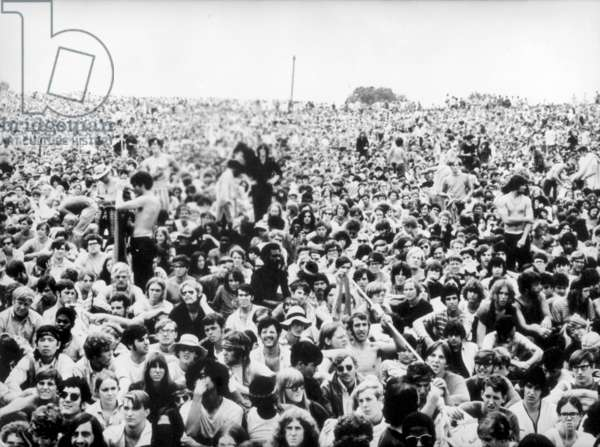 View of the crowds, Woodstock, USA, 1969 (b/w photo)