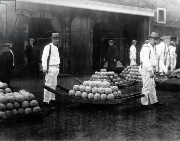 Cheese carriers at the Cheesemarket. USA envoy Philips visits the Alkmaar cheesemarket, The Netherlands, March 1921