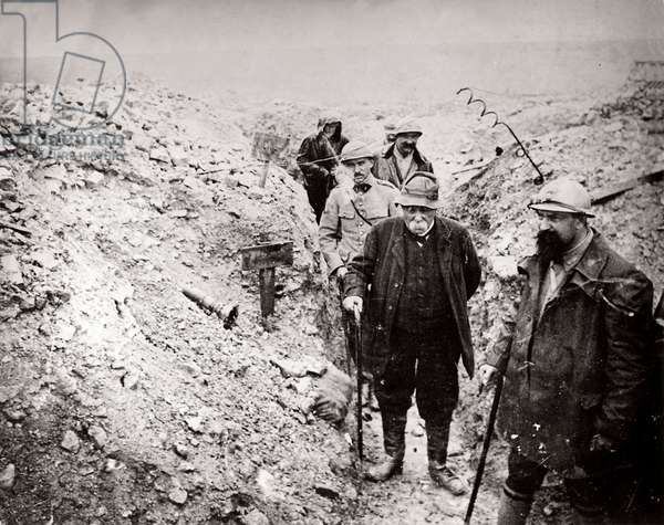 The French prime minister Clemenceauvisits trenches in Northern France, 1914-18 (b/w photo)