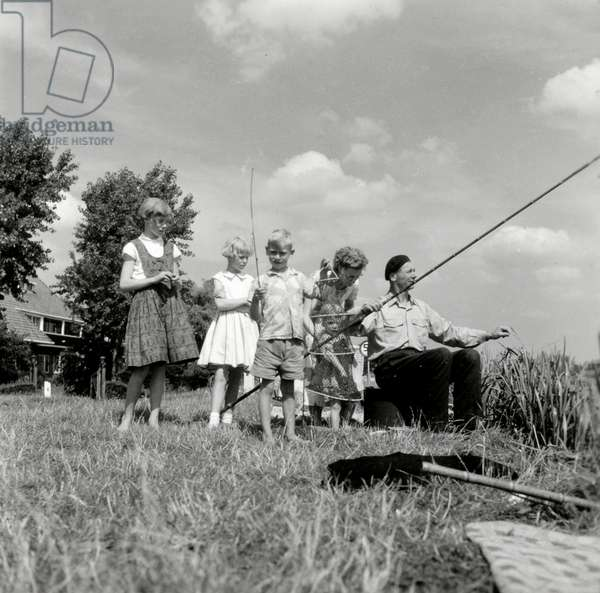 Family in nature,. Netherlands, 1950-60