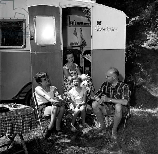 Family camping, The Netherlands, Ede, 1957