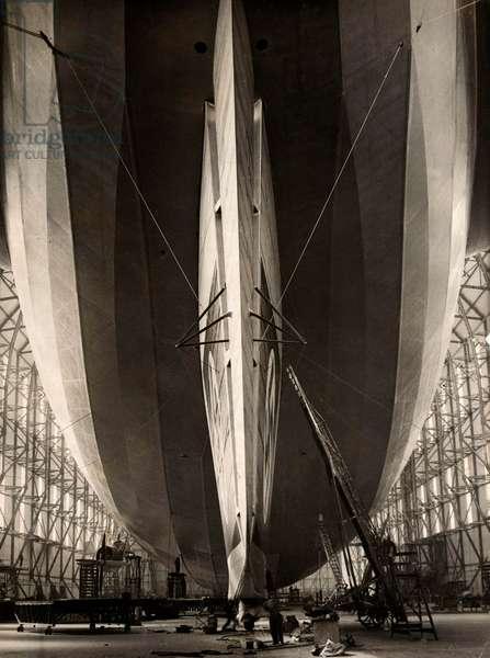 The German Zeppelin LZ 129 the Hindenburg, in the hangar in Friedrichshafen 28 February 1936 (b/w photo)
