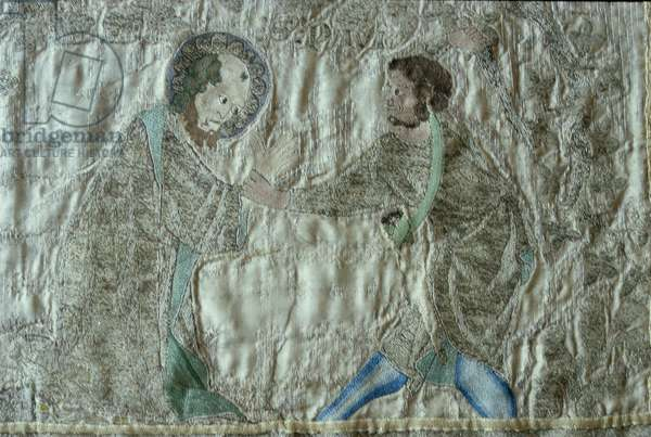 The martyrdom of a saint, detail from the frontal of the Steeple Aston Cope, c.1340s (silver-gilt thread and coloured silks on fawn silk twill)