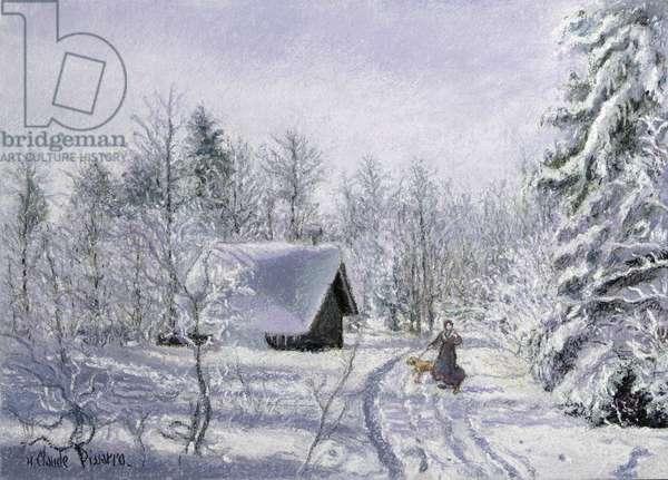The Chalet des Trois Sapins under Snow (pastel)