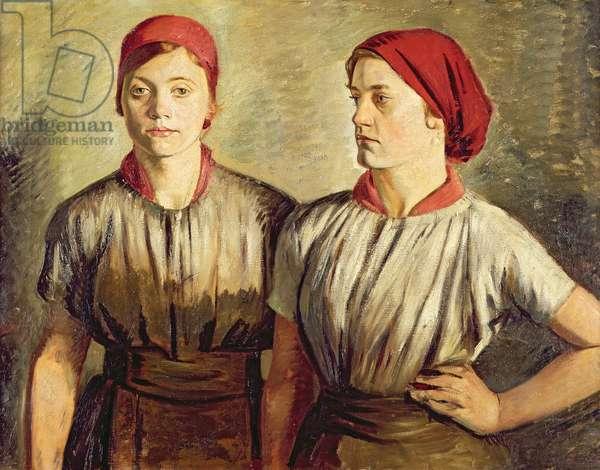 Sheffield Buffer Girls, 1919-20 (oil on canvas)
