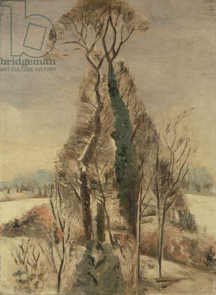 Iver Heath in the Snow (oil on canvas)