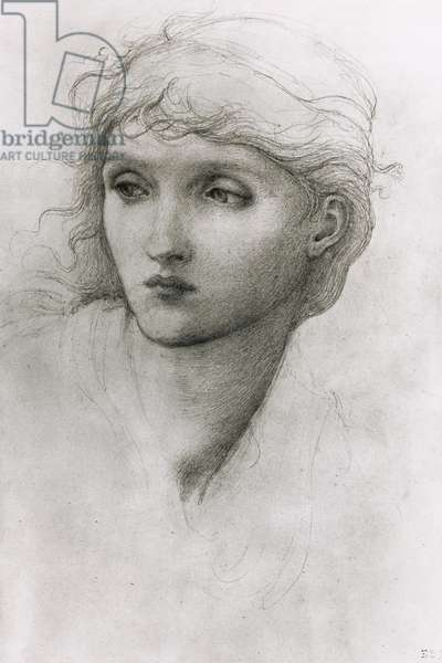 Study of a Girl's Head (pencil on paper)