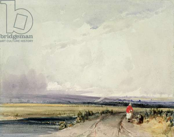Landscape in Normandy, traditionally known as 'Burnham in Norfolk' (w/c on paper)