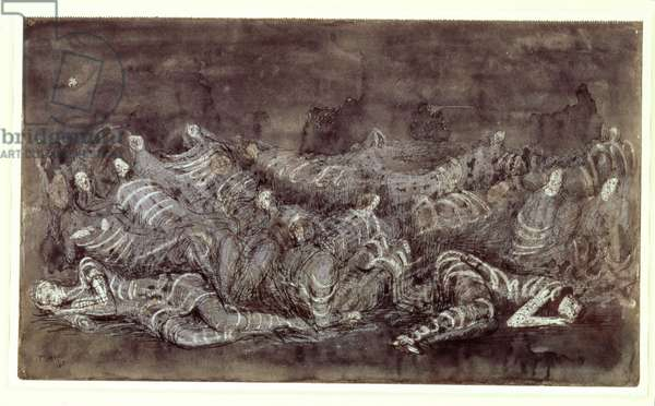 Shadowy Shelter, 1940 (chalk, pen, wash & w/c on paper)