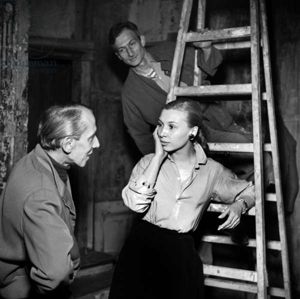 Pierre Valde, Silvia Monfort and Balthus, 1951 (b/w photo)