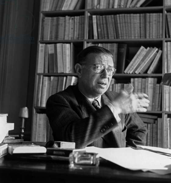 Jean-Paul Sartre, c.1955 (b/w photo)
