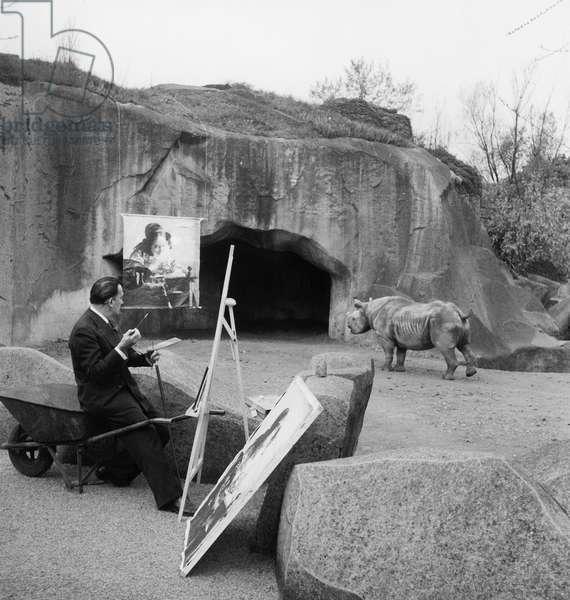 Salvador Dali at the zoo, 1955 (b/w photo)