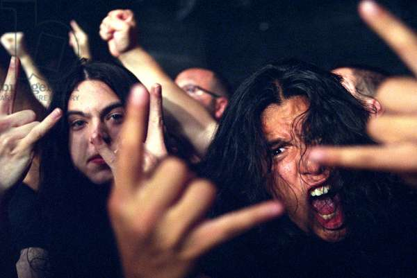 Audience at  a rock and heavy metal concert