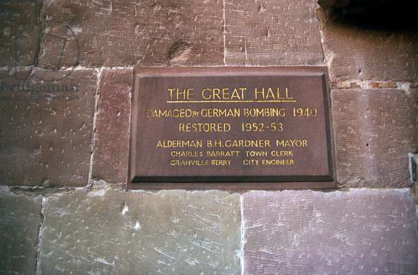 Plaque commemorating Coventry Blitz