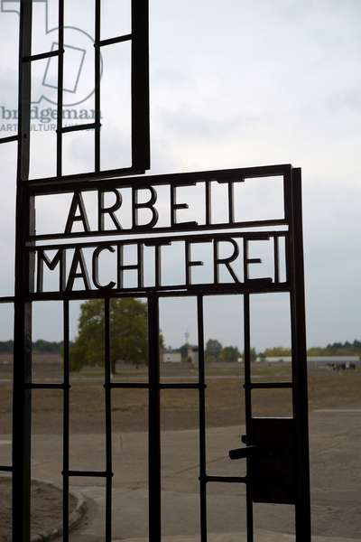 The entrance door of the former Sachsenhausen concentration camp and memorial in Oranienburg, Germany, 2018 (photo)