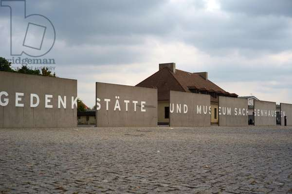 The entrance of the former Sachsenhausen concentration camp and memorial in Oranienburg, Germany, 2018 (photo)