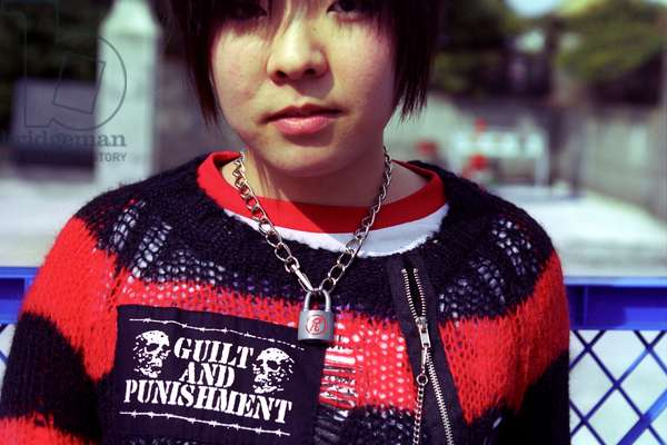 Japanese teenager dressed in punk rock fashion