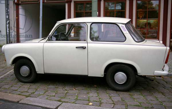 A trabant parked on a street in Berlin, Germany.