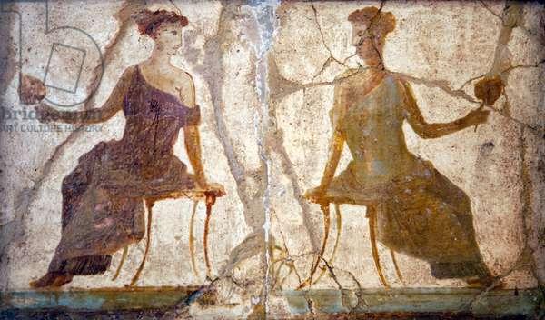 Women sitting, from Villa Arianna in Stabiae (fresco)