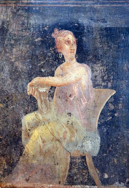 Woman sitting, from Triclinium 5 of Villa Arianna in Stabiae (fresco)
