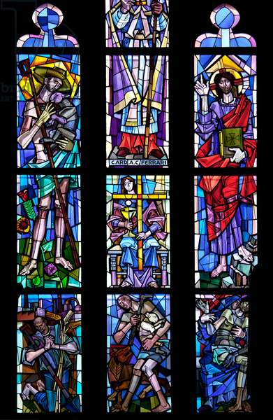 Seventh window, honouring Cardinals Carlo Ferrari and Alfredo Schuster (stained glass)