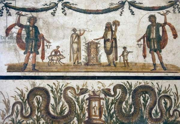 Lares and Genius, from a Lararium in Pompeii (fresco)