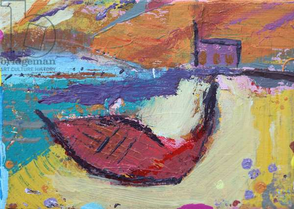 Red boat Iona (acrylic on canvas)