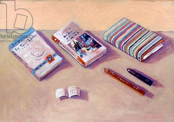 Three Books (oil on board)