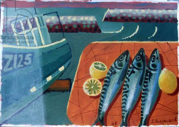 Three Mackerel (oil on board)