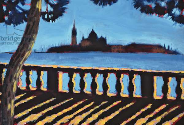 Towards Giudecca, Venice (oil on card)