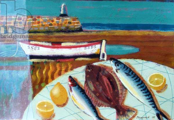 Plaice and Lemon (oil on board)
