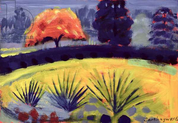 Botanical Gardens, Autumn (oil on card)