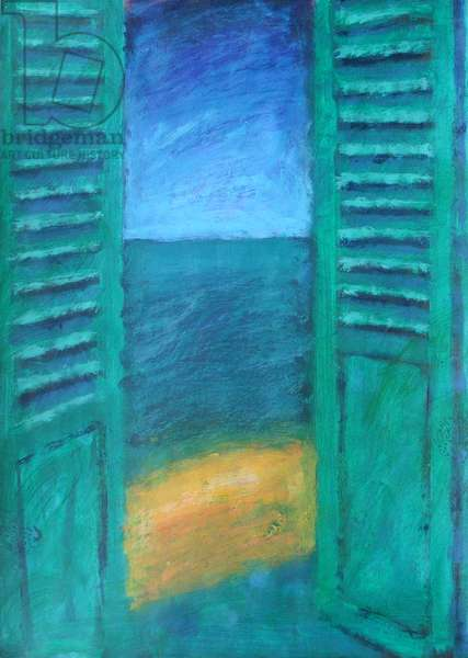 Green Shutters (acrylic on board)